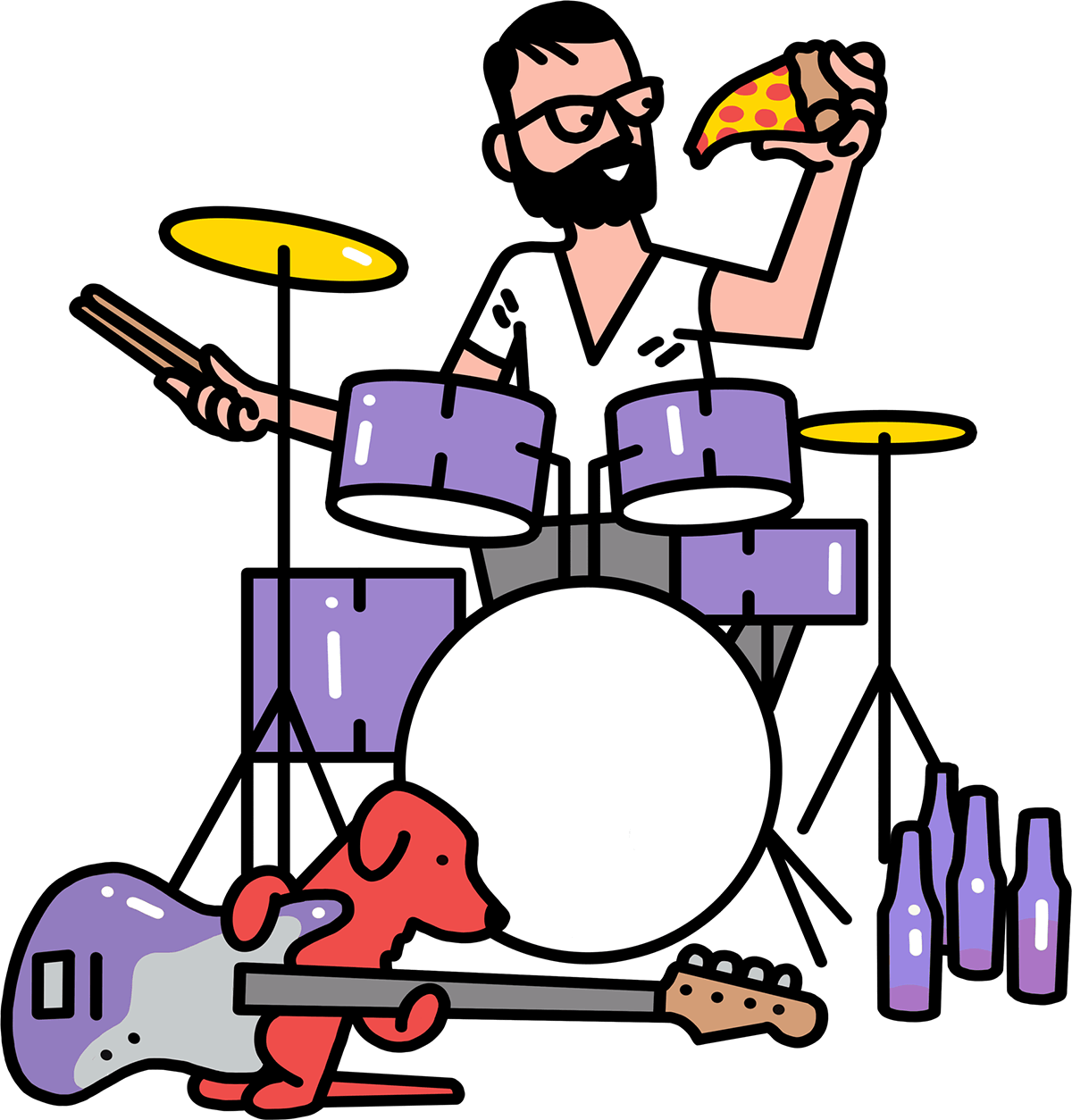 creative playing drums, eating pizza and drinking beer
